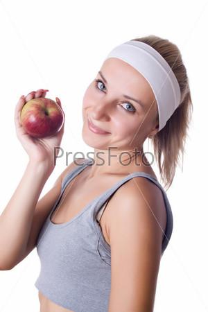 Здоровье - здоровая молодая женщина с яблоком