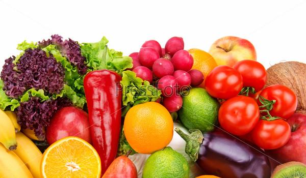 Фотография на тему Набор фруктов и овощей, изолированных на белом фоне