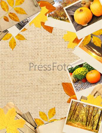 Рамка с осенними листьями и фотографиями