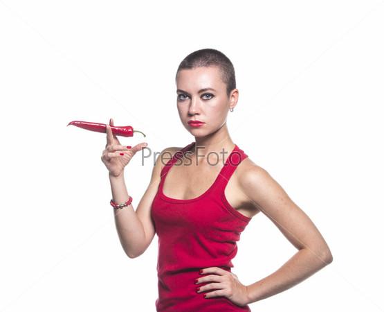 Фотография на тему Женщина держит перец чили как сигарету на белом фоне