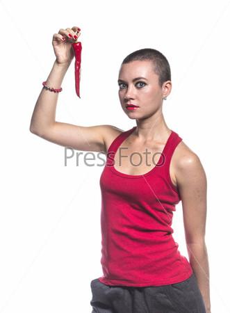 Фотография на тему Женщина с перцем чили на белом фоне