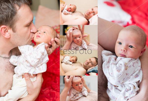 Фотография на тему Коллаж, новорожденная девочка на руках отца