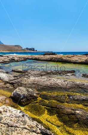 Залив Балос. Вид с острова Грамвуса, Крит. Бирюзовая вода, лагуна, пляж из чистого белого песка