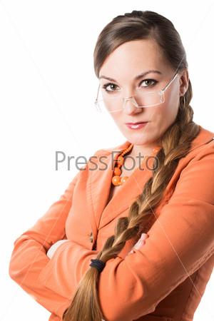 Фотография на тему Портрет бизнес-леди с длинными волосами, изолированной на белом фоне. Концепция бизнеса и финансов