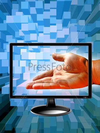 Человеческая рука и современной монитор