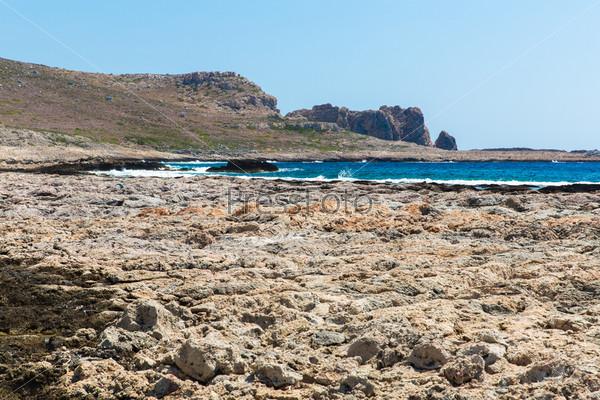 Залив Балос. Вид с острова Грамвус, Крит. Бирюзовые воды, лагуна, пляжи из чистого белого песка