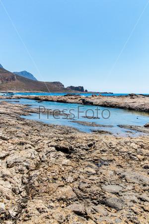 Залив Балос. Вид с острова Грамвуса, Крит в Greece.Magical бирюзовых водах, лагуны, пляжи чистого белого песка
