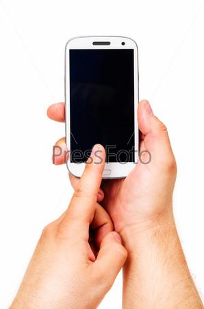 Фотография на тему Смартфон, изолированный на белом фоне