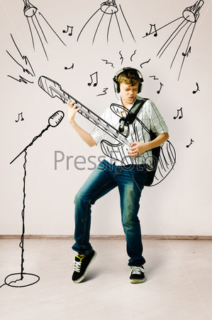 Игра на нарисованной гитаре