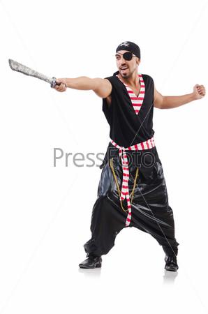 Мужчина в костюме пирата в Хэллоуин