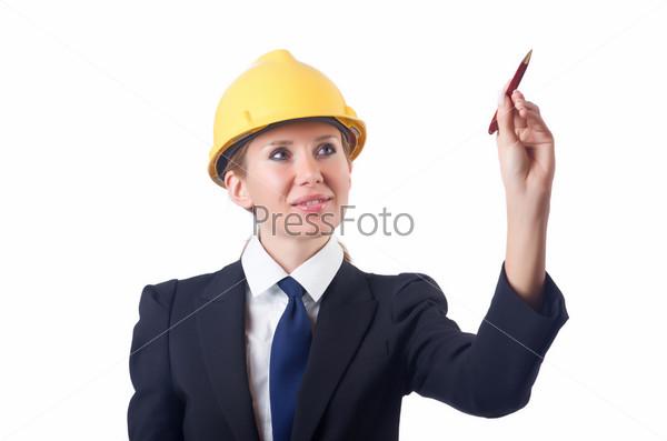 Женщина строитель нажимает на виртуальную кнопку