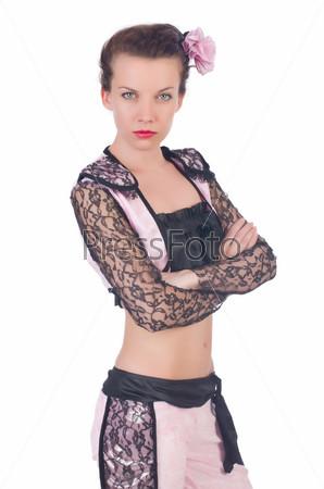 Женщина-тореадор, изолированная на белом