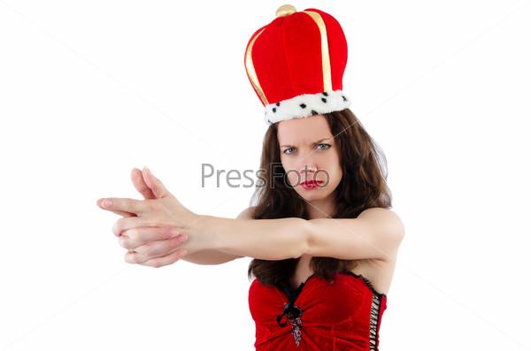 Фотография на тему Женщина с короной, изолированная на белом фоне