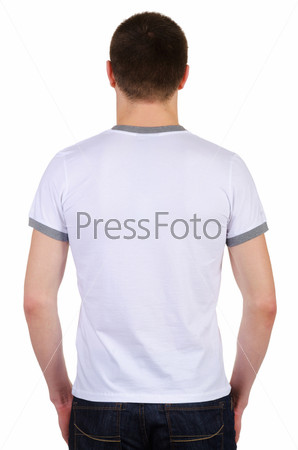 Фотография на тему Модель в футболке, изолированная на белом фоне