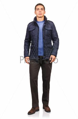 Фотография на тему Мужчина в куртке, изолированный на белом фоне