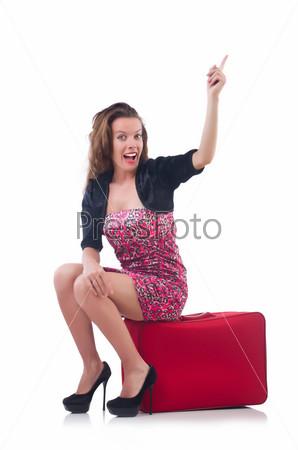 Фотография на тему Молодая женщина с чемоданом