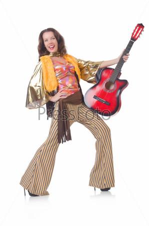 Фотография на тему Женщина с гитарой в мексиканской одежде