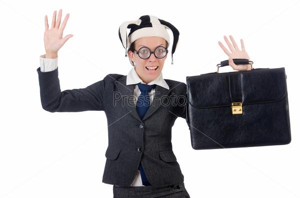 Фотография на тему Бизнес-леди клоун, изолированная на белом фоне