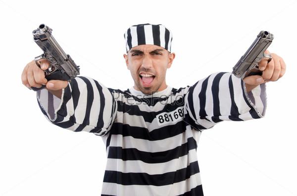 Фотография на тему Заключенный с оружием, изолированный на белом фоне