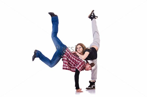 Фотография на тему Пара танцоров танцуют современный танец