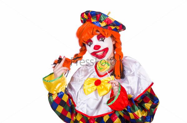 Фотография на тему Забавный клоун, изолированный на белом фоне