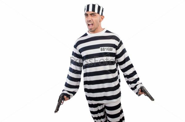 Заключенный с оружием, изолированный на белом фоне