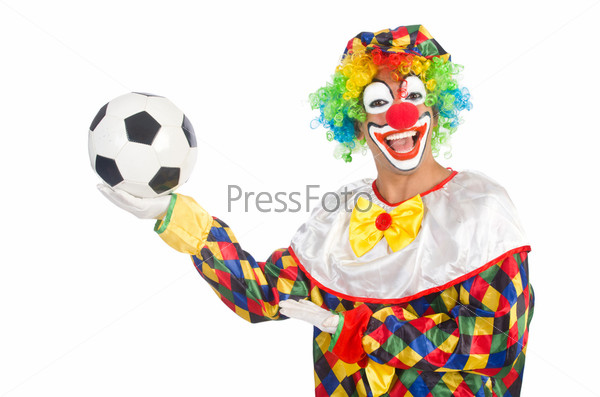Фотография на тему Клоун с футбольным мячом на белом фоне