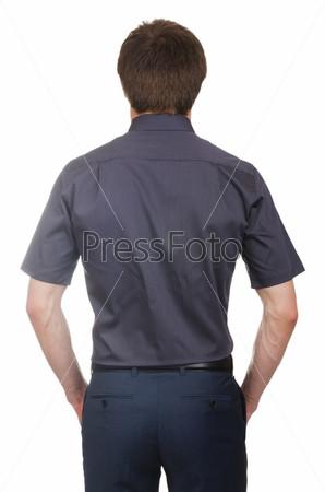 Фотография на тему Модель в рубашке, изолированная на белом фоне