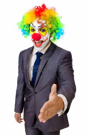Фотография на тему Бизнесмен клоун, изолированный на белом фоне