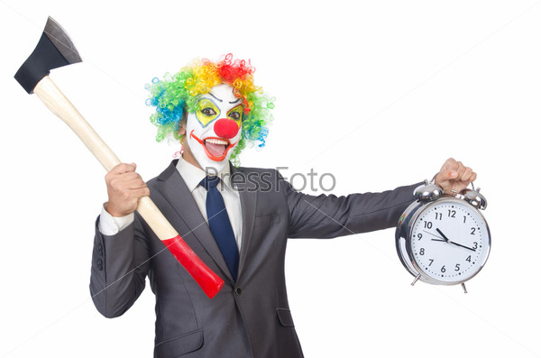 Бизнесмен клоун, изолированный на белом фоне