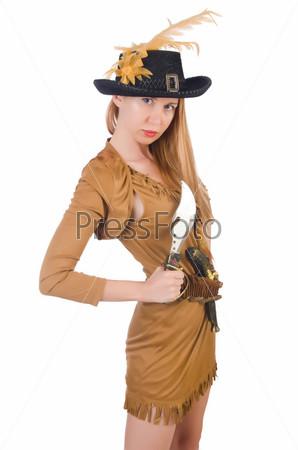 Фотография на тему Женщина-пират, изолированная на белом