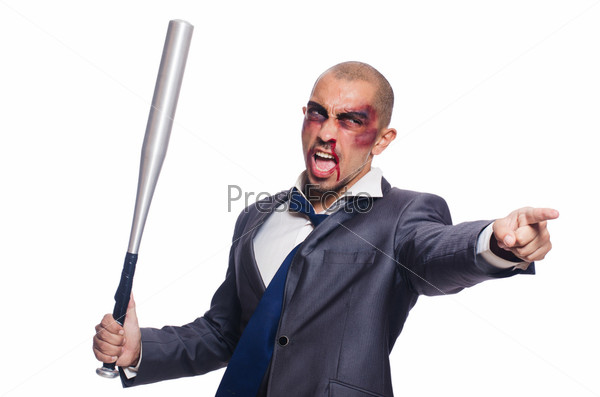 Фотография на тему Избитый бизнесмен с битой на белом фоне