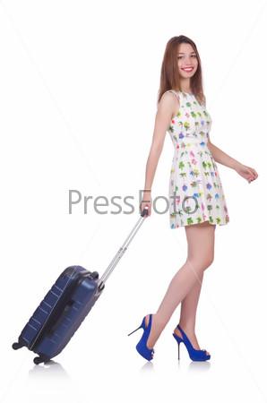 Фотография на тему Молодая женщина готова к отпуску