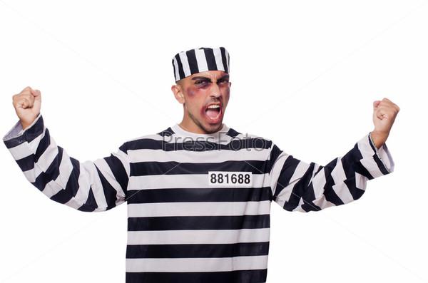 Фотография на тему Заключенный с синяками на белом фоне