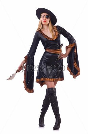 Женщина-пират, изолированная на белом