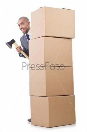 Фотография на тему Человек с топором и коробками на белом фоне