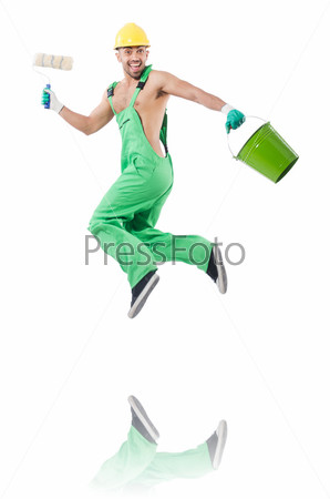 Фотография на тему Маляр в зеленом комбинезоне на белом фоне