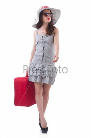Фотография на тему Молодая привлекательная женщина готова к летним каникулам