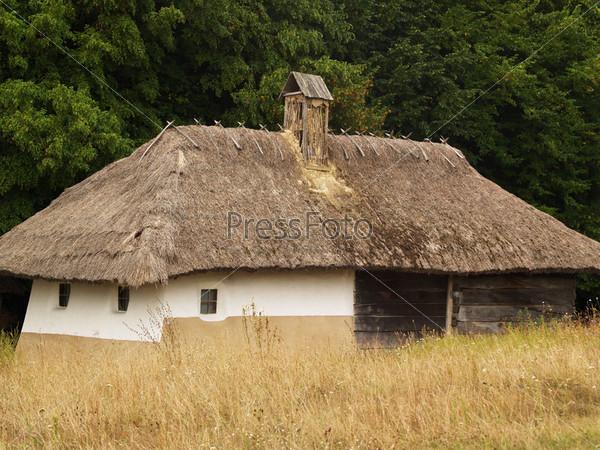 Старый деревенский дом с соломенной крышей