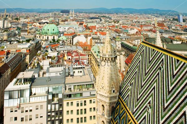 Вид на крыши Вены с собора Святого Стефана