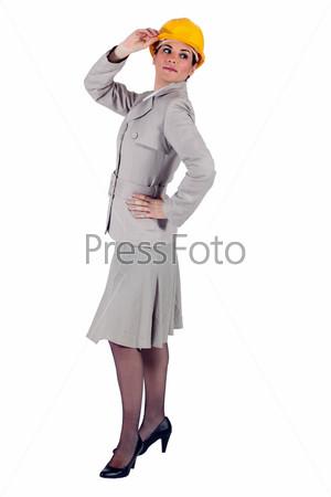 Элегантная бизнес-леди в шлеме
