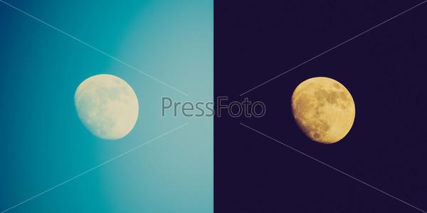 Полная луна в небе, день и ночь
