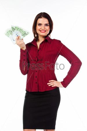 Фотография на тему Молодая, красивая и счастливая женщина с пачкой денег
