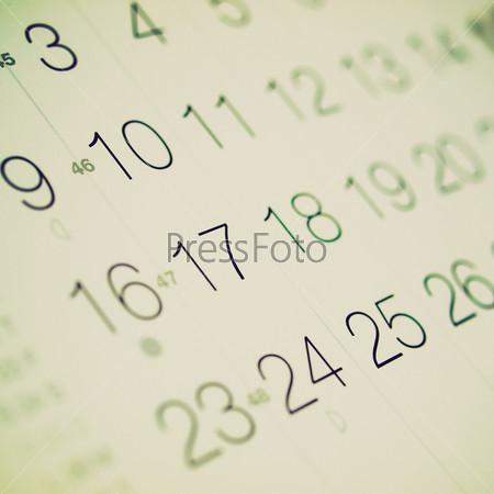 Страница календаря с датами