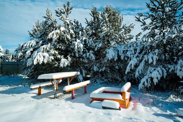 Скамейки и стол в снегу