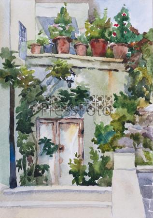 Небольшой восточный сад возле входа и цветочные горшки на балконе, акварель