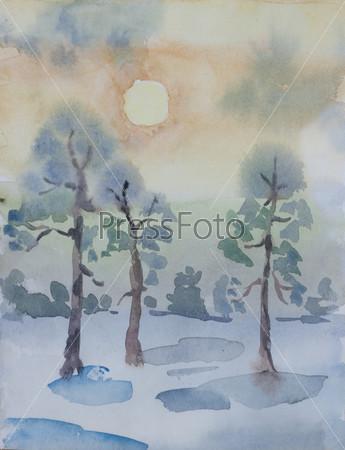 Фотография на тему Зимний сосновый лес на рассвете, примитивизм, акварель
