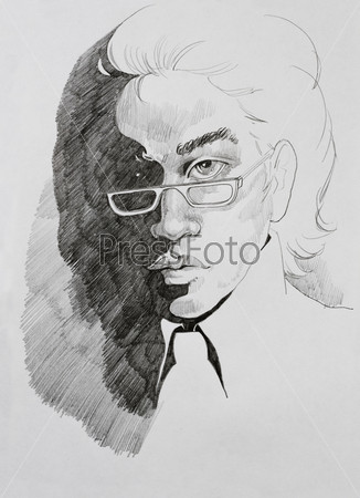 Карандашный портрет молодого человека в очках