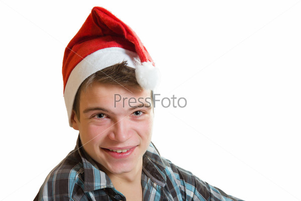 Молодой человек в шапке Санты