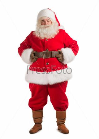 Фотография на тему Санта-Клаус стоит, изолированный на белом фоне